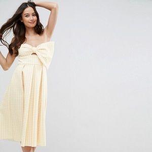 ASOS yellow gingham bow dress- size US8